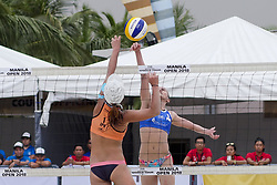 May 5, 2018 - Pasay, National Capital Region, Philippines - The first day of FIVB (Fédération Internationale de Volleyball) Beach Volleyball World Tour, Manila Open 2018, with its third day for women's quarter finals. Games are held on Sands SM by the Bay area of SM Mall of Asia...Its Philippines versus Japan for the quarter finals. Philippines team in blue top are (1) Cherry Ann Rondina and (2) Angeline Marie Gervacio. Japan team in orange top are (1) Shinako Tanaka and (2) Sakurako Fuji...Cherry Ann Rondina tries for a score through the net. (Credit Image: © George Buid via ZUMA Wire)