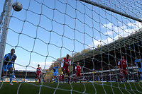 Photo: Alan Crowhurst.<br />Wycombe Wanderers v Darlington. Coca Cola League 2. 29/04/2006. Wycombe's Kevin Betsy (L) watches as the ball hits the post and bounces out.