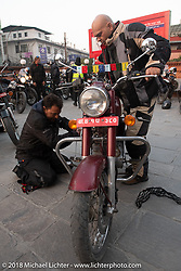 Dave Nolan on the first morning of our Himalayan Heroes adventure before riding out from Kathmandu, Nepal. Tuesday, November 6, 2018. Photography ©2018 Michael Lichter.