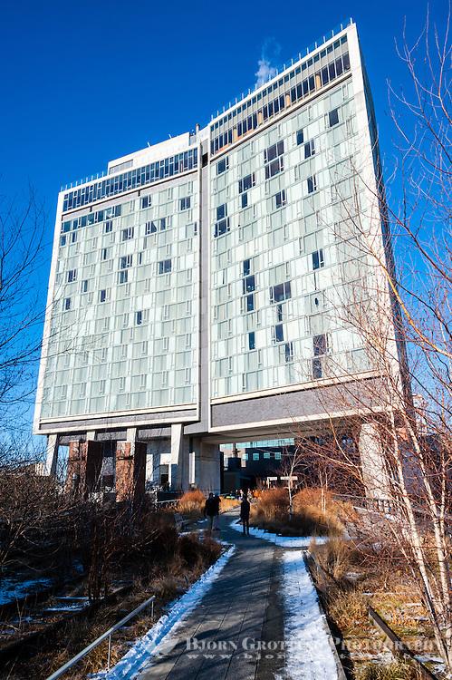 US, New York City. The High Line runs under the Standard Hotel.