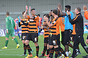 End of the match celebration for Barnet who won 3-1 during the Sky Bet League 2 match between Barnet and Dagenham and Redbridge at Hive Stadium, London, England on 26 September 2015. Photo by Ian Lyall.