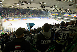 Fans of EHC Liwest Linz during ice-hockey match between HDD Tilia Olimpija and EHC Liwest Black Wings Linz at second match in Semifinal  of EBEL league, on March 8, 2012 at Hala Tivoli, Ljubljana, Slovenia. (Photo By Matic Klansek Velej / Sportida)