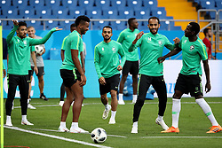 ROSTOV-ON-DON, June 18, 2018  Players of Saudi Arabia attend a training session during the 2018 FIFA World Cup in Rostov-on-Don, Russia, June 19, 2018. (Credit Image: © Li Ming/Xinhua via ZUMA Wire)