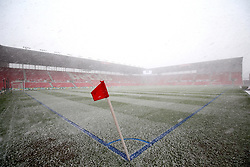 A general view of snow falling on the bet365 Stadium pitch