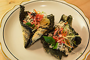 "Brooklyn, NY - 26 April 2014. A nori ""taco"" salad at Dotory, a Korean restaurant at 353 Broadway in Brooklyn's Williamsburg neighborhood."
