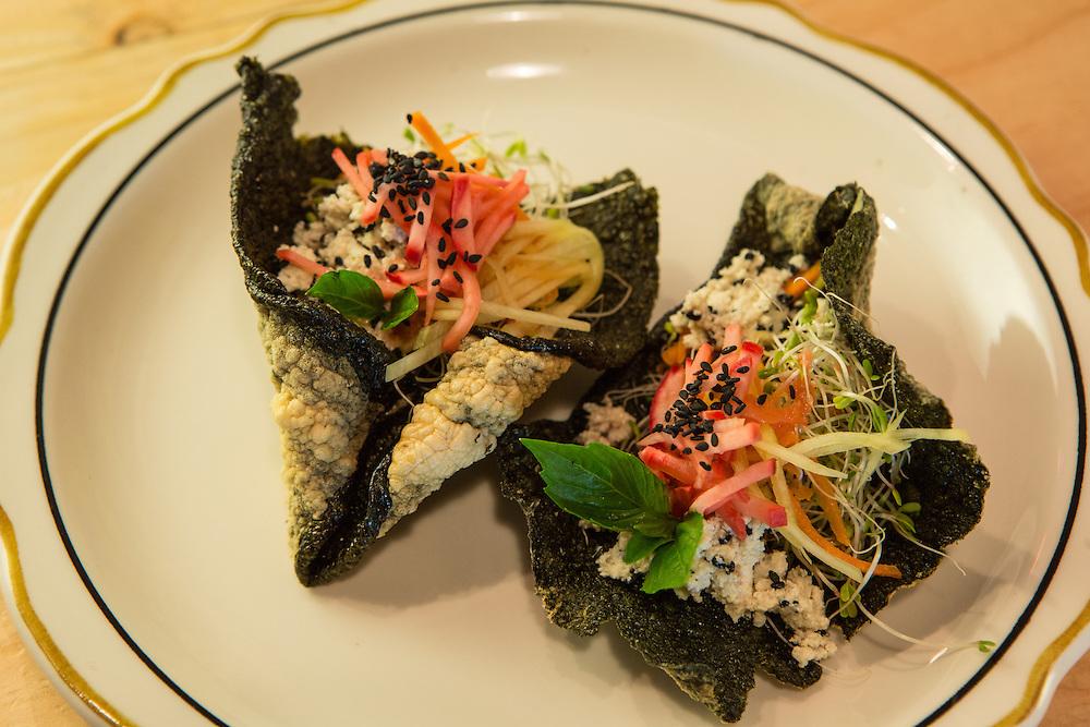 "Brooklyn, NY - 26 April 2014. A nori ""taco"" salad at Dotory, a Korean restaurant at 353 Broadway in Brooklyn's Williamsburg neighborhood."