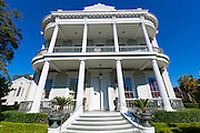 Traditional neo-classical grand mansion house with double gallery and columns in the Garden District of New Orleans, USA