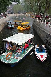 Many pleasure boats on Houhai and Qianhai Lake in Beijing China