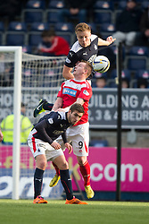 Falkirk's Peter Grant over Brechin City's Andy Jackson with Falkirk's Luke Leahy. <br /> Falkirk 2 v 1 Brechin City, Scottish Cup fifth round game played today at The Falkirk Stadium.