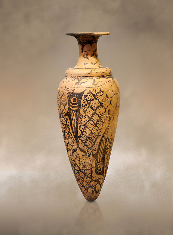 Minoan conical rhython decorated with dolphins against a net pattern , Special Palatial Tradition, Pseira  1500-1400 BC BC, Heraklion Archaeological  Museum. .<br /> <br /> If you prefer to buy from our ALAMY PHOTO LIBRARY  Collection visit : https://www.alamy.com/portfolio/paul-williams-funkystock/minoan-art-artefacts.html . Type -   Heraklion   - into the LOWER SEARCH WITHIN GALLERY box. Refine search by adding background colour, place, museum etc<br /> <br /> Visit our MINOAN ART PHOTO COLLECTIONS for more photos to download  as wall art prints https://funkystock.photoshelter.com/gallery-collection/Ancient-Minoans-Art-Artefacts-Antiquities-Historic-Places-Pictures-Images-of/C0000ricT2SU_M9w