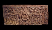 11th century Lintel in the style of Baphuon (1050-1100) from Wat Kralanh, Cambodia