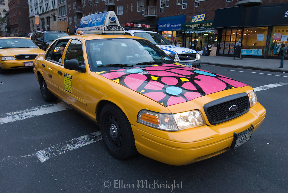 """From September to December 2007, New York City Taxis were painted with bright flowers by children as part of a large public art project. The program, known as """"Garden in Transit"""" was organized by a nonprofit group, Portraits in Hope, to provide creative therapy for ill and disabled children."""