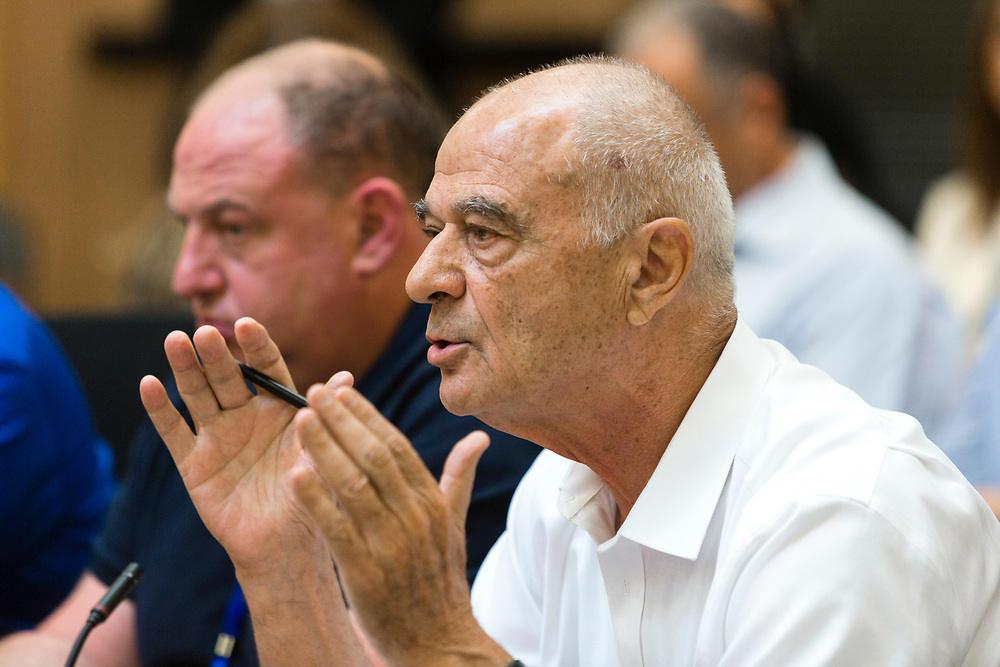 Uriel Lynn, president of the Federation of the Israeli Chambers of Commerce attends a session of the Finance committee at the Knesset, Israel's parliament in Jerusalem, on July 30, 2014.