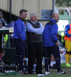 Paul Sturrock, Manager of Yeovil Town looks on with Assistants Terry Skiverton and Darren Way - Photo mandatory by-line: Harry Trump/JMP - Mobile: 07966 386802 - 15/08/15 - SPORT - FOOTBALL - Sky Bet League Two - Yeovil Town v Bristol Rovers - Huish Park, Yeovil, England.