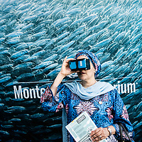 H.E. Amina J. Mohammed, Deputy Secretary-General of the United Nations views virtual reality media in the Monterey Aquarium exhibit at the World Ocean Festival on Governor's Island in New York on June 04, 2017.