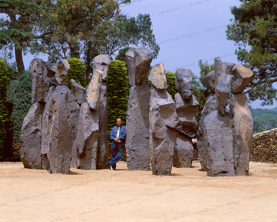 One of Europe's finest sculptors and artists, Xavier Corbero at a show of his work outside Barcelona at the botanical gardens of Cap Roig.  On display is over 200 tons of sculpture.