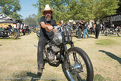 BF8 Invited builder Matt Machine on his Machine Shed Harley-Davidson WLA custom from Australia at the Born Free 8 Motorcycle Show. Silverado, CA, USA. June 26, 2016.  Photography ©2016 Michael Lichter.