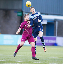 Arbroath's Steven Doris and Forfar Athletic's Thomas O'Brien. half time : Forfar Athletic 0 v 0 Arbroath, Scottish Football League Division Two game played 10/12/2016 at Station Park.