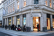 Shoppers queue outside Gucci shop on Bond Street as Londoners await the announcement of a second coronavirus lockdown it's business as usual in the West End with shoppers out and about and the pavements busy with people on what will be the last weekend before a month-long total lockdown in the UK on 31st October 2020 in London, United Kingdom. The three tier system in the UK has not worked sufficiently, to suppress the virus, and there have have been calls by politicians for a 'circuit breaker' complete lockdown to be announced to help the growing spread of the Covid-19.