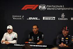 May 25, 2019 - Monte Carlo, Monaco - xa9; Photo4 / LaPresse.25/05/2019 Monte Carlo, Monaco.Sport .Grand Prix Formula One Monaco 2019.In the pic: pole position Press conference .1st position Lewis Hamilton (GBR) Mercedes AMG F1 W10 .2nd position Valtteri Bottas (FIN) Mercedes AMG F1 W10 .3rd position Max Verstappen (NED) Red Bull Racing RB15 (Credit Image: © Photo4/Lapresse via ZUMA Press)