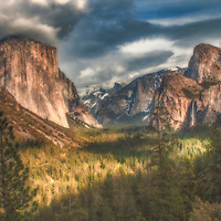 Late winter afternoon clouds on El Capitan from Tunnel View, Yosemite National Park, California.