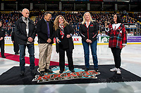 KELOWNA, CANADA - MARCH 9:  Cindy Cherry, the daughter of Don Cherry, stands at centre ice for the ceremonial puck drop between the Kelowna Rockets and Kamloops Blazers on March 9, 2019 at Prospera Place in Kelowna, British Columbia, Canada.  (Photo by Marissa Baecker/Shoot the Breeze)