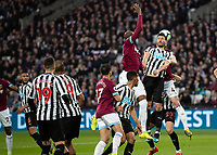 Football - 2018 / 2019 Premier League - West Ham United vs. Newcastle United<br /> <br /> Declan Rice (West Ham United) rises behind Fabian Schar (Newcastle United)  to head home the opening goal of the match at the London Stadium<br /> <br /> COLORSPORT/DANIEL BEARHAM