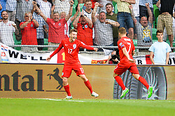 Adam Lallana of England celebrate after his goal during the EURO 2016 Qualifier Group E match between Slovenia and England at SRC Stozice on June 14, 2015 in Ljubljana, Slovenia. Photo by Mario Horvat / Sportida