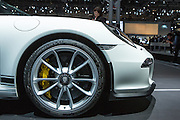 New York, NY, USA-23 March 2016. The nose detail of Porsche's 911 R, a $185,000 sportscar with a top track speed of 200mph.