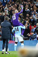 Manchester City Goalkeeper Wilfredo Caballero celebrates with Wilfried Bony of Manchester City.  Capital One Cup Final, Liverpool v Manchester City at Wembley stadium in London, England on Sunday 28th Feb 2016. pic by Chris Stading, Andrew Orchard sports photography.