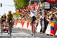 Arrival, John Degenkolb (GER - Trek - Segafredo) winner, Greg Van Avermaet (BEL - BMC), Yves Lampaert (BEL - QuickStep - Floors) during the 105th Tour de France 2018, Stage 9, Arras Citadelle - Roubaix (156,5km) on July 15th, 2018 - Photo Luca Bettini / BettiniPhoto / ProSportsImages / DPPI