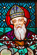 Stained glass window by Henry Holiday 1863 Shimpling church, Suffolk, England, UK Pre-Raphaelite artist - Simeon close-up
