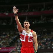 Kristian Thomas, Great Britain, in action in the Gymnastics Artistic, Men's Apparatus, Vault Final at the London 2012 Olympic games. London, UK. 6th August 2012. Photo Tim Clayton