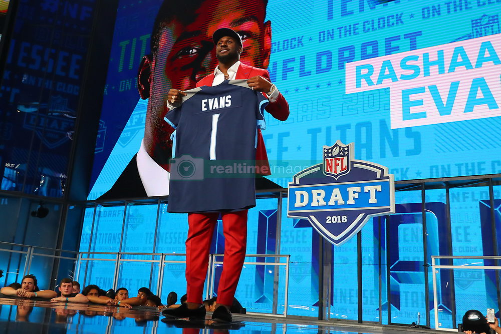April 26, 2018 - Arlington, TX, U.S. - ARLINGTON, TX - APRIL 26:  Rashaan Evans holds a jersey and takes photos after being chosen by the Tennessee Titans with the 22nd pick during the first round at the 2018 NFL Draft at AT&T Statium on April 26, 2018 at AT&T Stadium in Arlington Texas.  (Photo by Rich Graessle/Icon Sportswire) (Credit Image: © Rich Graessle/Icon SMI via ZUMA Press)