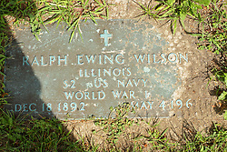 31 August 2017:   Veterans graves in Park Hill Cemetery in eastern McLean County.<br /> <br /> Ralph Ewing Wilson Illinois S2 US Navy World War I Dec 18 1892 May 4 1961