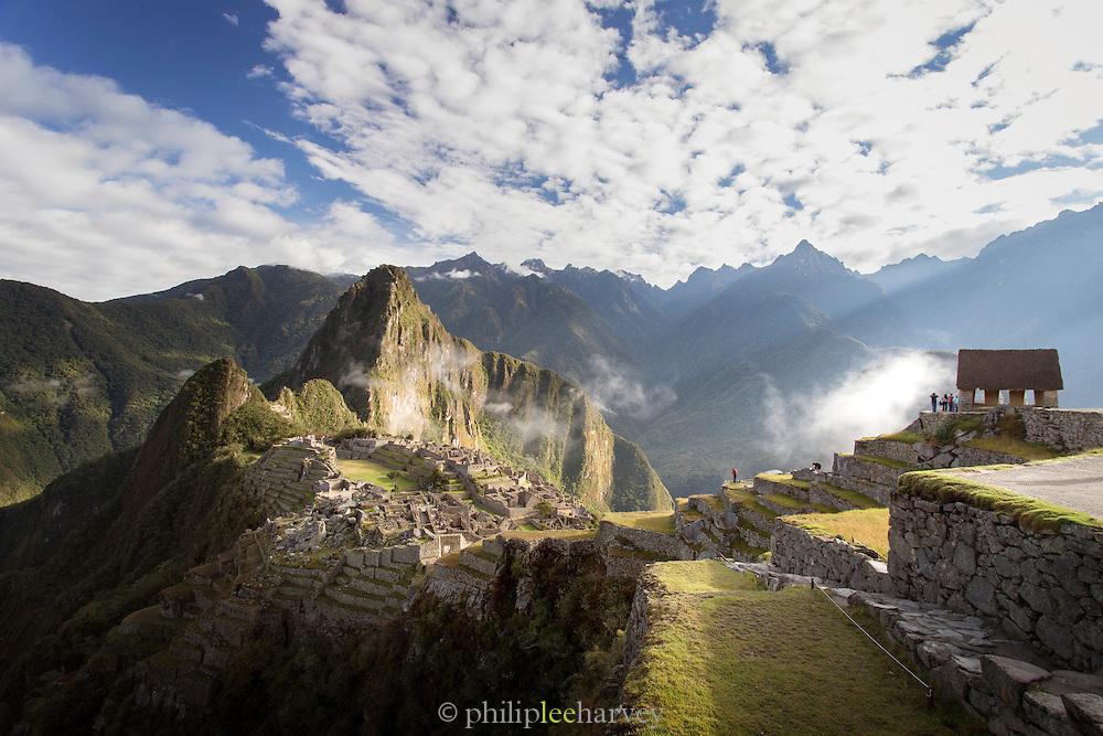 Early morning landscape of Machu Picchu, Cusco Region, Urubamba Province, Machupicchu District in Peru, South America