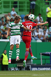 August 15, 2017 - Lisbon, Portugal - Sporting's defender Fabio Coentrao from Portugal (L) heads the ball with Steaua's forward Florin Tanase during the UEFA Champions League play-offs first leg football match between Sporting CP and FC Steaua Bucuresti at the Alvalade stadium in Lisbon, Portugal on August 15, 2017. (Credit Image: © Pedro Fiuza/NurPhoto via ZUMA Press)