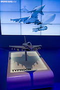 BAE Systems Typhoon jet fighter presentation model, exhibited at the Farnborough Air Show, England.