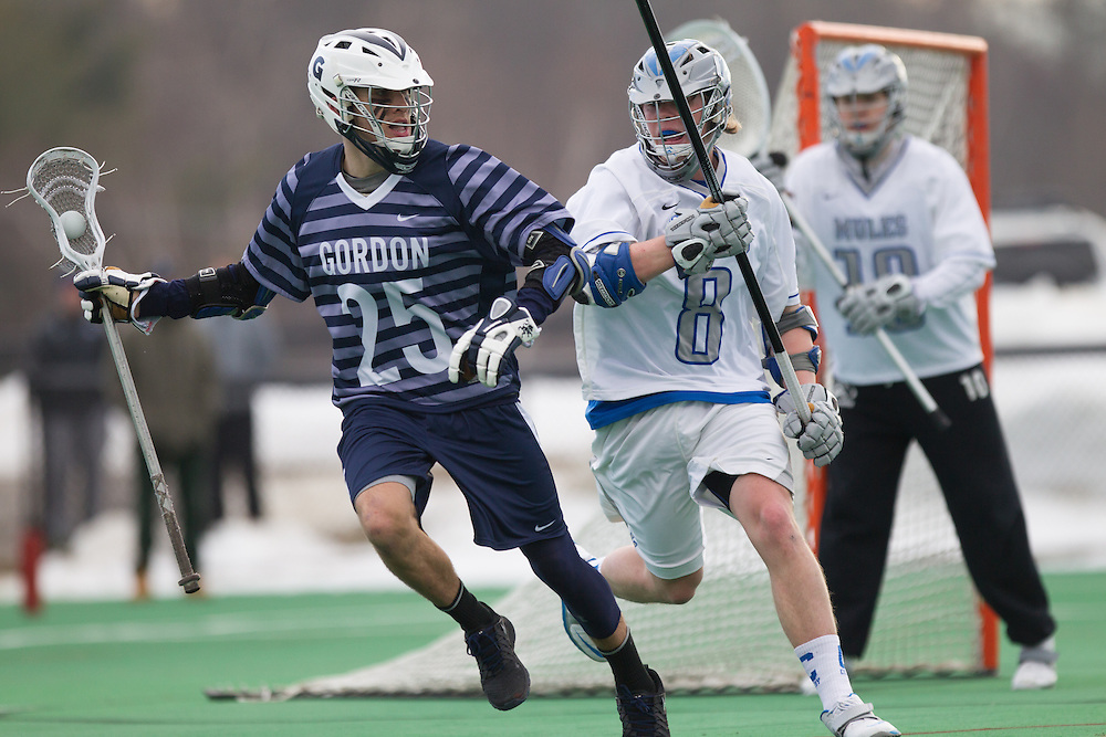 Colby College defenseman, Kenny Jacobson, during a NCAA Division III men's lacrosse game against at Gordon College on March 11, 2014 in Waterville, ME. (Dustin Satloff/Colby Athletics)