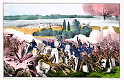 American Civil War 1861-1865: The Battle of Baton Rouge (Magnolia Cemetery), Louisiana, 5 August 1862.  Land and naval battle.  Union (Northern) victory over the Confederates (Southern)  forces.  Currier & Ives print 1862.