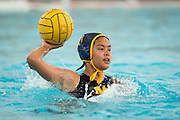 Calla Punsalang (17) passes the ball against Monta Vista during a girl's varsity water polo match at Milpitas High School in Milpitas, California, on September 6, 2016. (Stan Olszewski/SOSKIphoto)