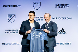 January 11, 2019 - Chicago, IL, U.S. - CHICAGO, IL - JANUARY 11: Luis Barraza is selected as the number twelve overall pick to New York City FC in the first round of the MLS SuperDraft on January 11, 2019, at McCormick Place in Chicago, IL. (Photo by Patrick Gorski/Icon Sportswire) (Credit Image: © Patrick Gorski/Icon SMI via ZUMA Press)