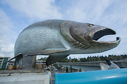 United States, Washington, Bellevue, salmon sculpture at bus stop