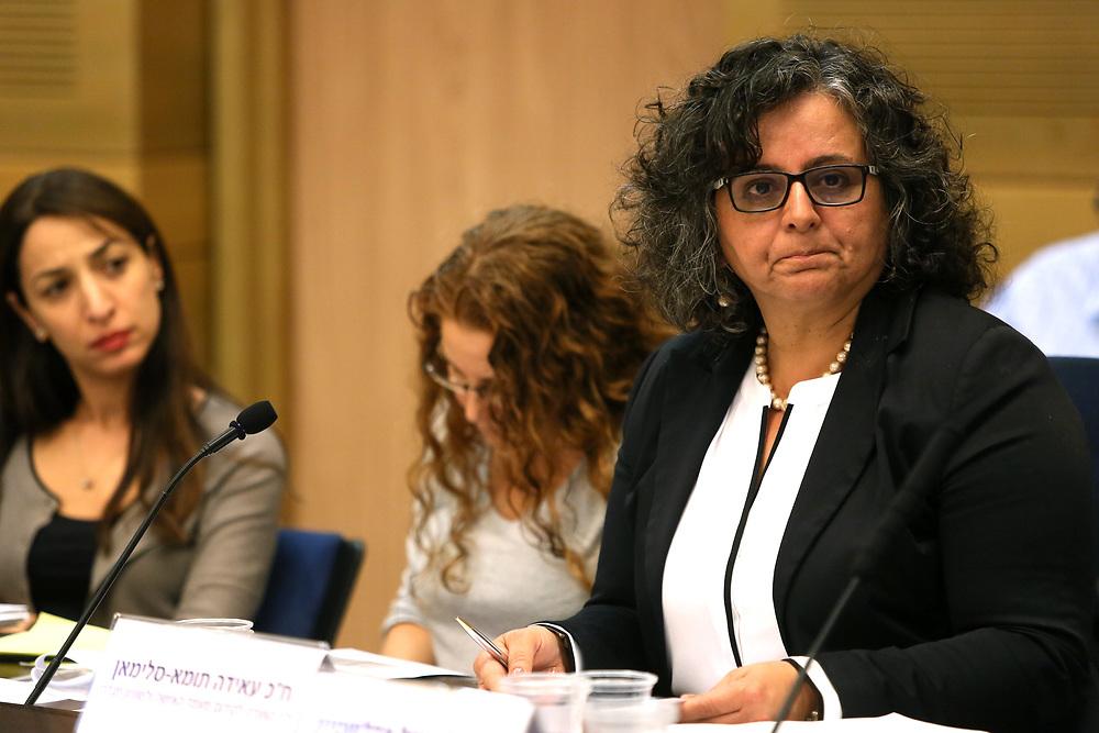 Arab-Israeli lawmaker, Member of the Knesset Aida Touma-Suleiman at the Knesset, Israel's parliament in Jerusalem, on November 23, 2015.