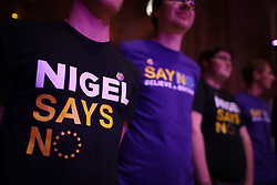 © Licensed to London News Pictures. 04/09/2015. London, UK. United Kingdom Independence Party (UKIP) workers wear 'Nigel Says No' t-shirts' as they wait for leader Nigel Farage to launch his 'Say No to EU referendum' tour and campaign. Photo credit: Peter Macdiarmid/LNP