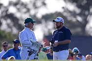 "Shane Lowry (IRL) and his caddy ""Bo"" on the 1st tee during the 1st round at the The Masters , Augusta National, Augusta, Georgia, USA. 11/04/2019.<br /> Picture Fran Caffrey / Golffile.ie<br /> <br /> All photo usage must carry mandatory copyright credit (© Golffile 