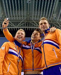 05-04-2015 NED: Swim Cup, Eindhoven<br /> Sabastiaan Verschuren wordt 3de op de 400 meter in 3:49.80 maar wordt Nederlands kampioen, Maarten Brzoskowski en Joost Reijns pakt het brons