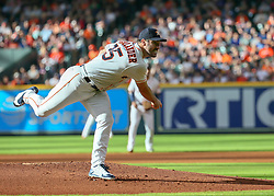 July 28, 2018 - Houston, TX, U.S. - HOUSTON, TX - JULY 28:  Houston Astros starting pitcher Justin Verlander (35) pitches to Texas Rangers first baseman Ronald Guzman (67) in the top of the second inning during the baseball game between the Texas Rangers and Houston Astros on July 28, 2018 at Minute Maid Park in Houston, Texas.  (Photo by Leslie Plaza Johnson/Icon Sportswire) (Credit Image: © Leslie Plaza Johnson/Icon SMI via ZUMA Press)