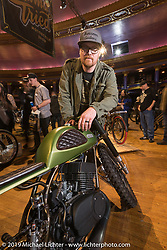 Kacey Elkins of Krossover Customs in Lancaster, KY with his custom 1973 Yamaha RD350 at the Mama Tried Show. Milwaukee, WI. USA. Saturday February 24, 2018. Photography ©2018 Michael Lichter.