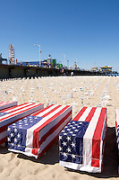 U.S. Flag Draped Over Coffins at Arlington West Memorial, Santa Monica Pier, California